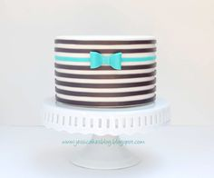 Horizontal Striped Cake - I made this cake for a tutorial on my blog.  I used the wax paper transfer technique I came up with to lay out the stripes.  You then apply the stripes to the cake like a sticker!  Works beautifully and helps you keep your lines nice and straight!