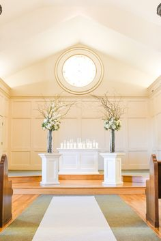Simple and elegant church wedding decor for indoor ceremony at Hawthorne House photographed by Sarah Rieth Photography near Kansas City Church Wedding Decorations, Table Decorations, Hawthorne House, Indoor Ceremony, Ceremony Backdrop, Kansas City, Elegant, Simple, Photography