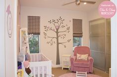 modern bird themed nursery for a baby girl - in lavender and white