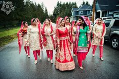 Bride and bridesmaids taking a stroll down memory lane. Sikh wedding