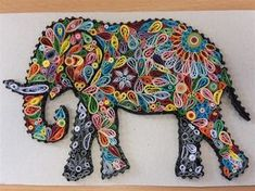 Quilled elephant by CloverS More