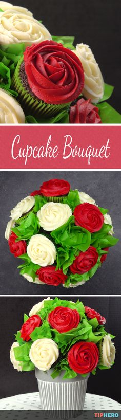Sure you could go with a dozen roses or chocolates for your Valentine this year. Or you could totally wow your beloved - and the little ones in your life! - with this amazing cupcake rose bouquet! Great for parties and birthdays too. Click to watch how it all comes together!