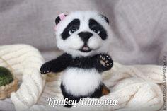 Купить Авторская валяная игрушка тэдди Панда Ромашка:) - чёрно-белый, Сухое валяние