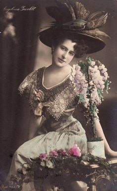 Vintage edwardian handtinted lady with flowers 002 by ~MementoMori-stock on deviantART