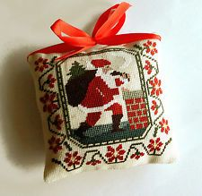 Completed finished cross stitch Christmas ornament primitive tree decor Santa