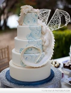 Realistic Dragon Styled Wedding Cake