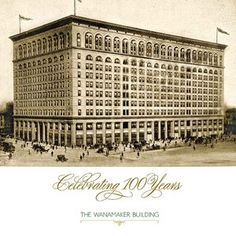 A photo of the Wanamaker building on the invitation for the 100th-anniversary celebration.