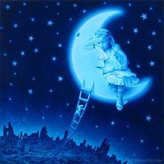 Starry Night painting / moon and stars, I love the mouse climbing up the ladder!