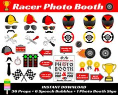 Racer Photo Booth Props–43 Pieces (36 Props, 6 Speech Bubbles, 1 Photo Booth Sign)-Printable Racing, Racercar, Racer Props-Instant Download