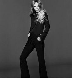 Fashion Model Natasha Poly 70S for FRAME Denim 2015 fall-winter campaign Photoshoot