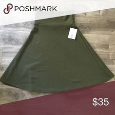 BNWT Small LLR Azure This is a beautiful olive green color!  Perfect for fall or year round!  Smoke free pet free home. LuLaRoe Skirts A-Line or Full