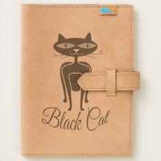 Black cat with green eyes journal - black gifts unique cool diy customize personalize