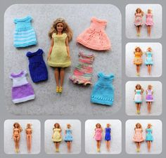 Barbie ~ Fashionista Barbie Summer Dresses Knitting pattern by Marianna's Lazy Daisy Designs Barbie Knitting Patterns, Knitting Dolls Clothes, Barbie Clothes Patterns, Clothing Patterns, Doll Clothes, Knitted Dolls, Knitting Ideas, Doll Patterns, Knit Patterns