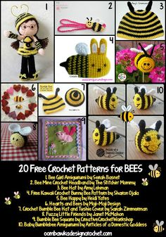 Oombawka Design pattern roundup: 20 Free Crochet Patterns for Bees Crochet Bee, Stitch Crochet, Kawaii Crochet, Crochet Butterfly, All Free Crochet, Crochet Dishcloths, Crochet Round, Crochet Gifts, Crochet For Kids