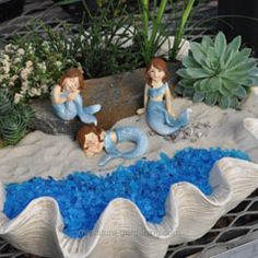 Did You Know Mermaids are Fairies Too? miniature-gardening.com #miniaturegarden #fairygarden #mermaid