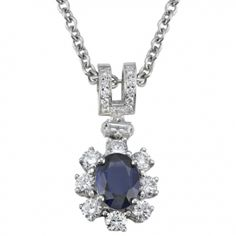 Oval Sapphire & Round and Baguette Diamond Pendant