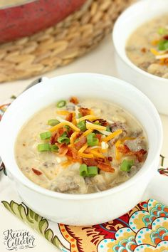 Potato & Sausage Soup - A hearty soup filled with breakfast sausage and frozen hash brown potatoes making it a quick and easy soup recipe idea! Easy Main Dish Recipes, Easy Soup Recipes, Lunch Recipes, Party Recipes, Dinner Recipes, Healthy Recipes, Recipe Collector, Cream Of Potato Soup, Quick And Easy Soup