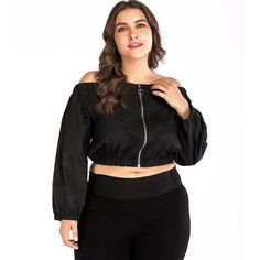 Women Plus Size Autumn Tops Off the Shoulder Crop Top Solid Long Sleeve Sexy Zip Front Slash Neck T-shirt Elegant Tops Black Baby Girl Party Dresses, Girls Formal Dresses, Lace Party Dresses, Plus Size Crop Tops, Christening Gowns Girls, Fashion Leaders, International Fashion, Long Sleeve Crop Top, Plus Size Outfits