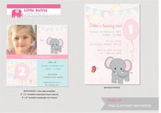 Girls Birthday Invitation - Pink Elephant - DIY printable. $12.00, via Etsy.