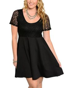 Another great find on #zulily! Black Lace-Trim Fit & Flare Dress - Plus #zulilyfinds #shopping