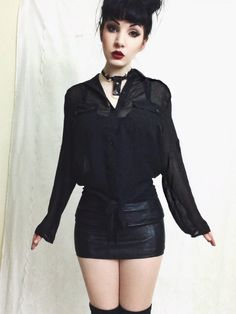 The Prue Blouse - Black Sheer Tie Front Button Down Collared Blouse · Last Rites · Online Store Powered by Storenvy