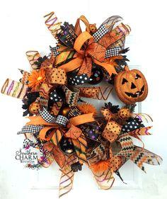 Halloween Wreath w Jack-o-Lantern in Orange and Black, Halloween Ribbon Wreath, Whimsical Wreath, Halloween Door, Halloween Decorations by SouthernCharmWreaths (124.87 USD) http://ift.tt/1McQqUi