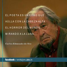 """""""El poeta es un lobo que aúlla con la cabeza alta el horror del mundo mirando a la luna"""". - Carlos Edmundo de Ory, Diario El País, 31/10/2003"""