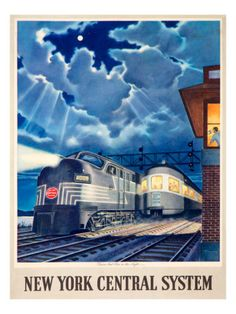 New York Central System - Trains That Pass in the Night - (artist: Gascon c. - Vintage Advertisement Giclee Gallery Print, Wall Decor Travel Poster), Size: 36 x 54 Giclee Print, Multi