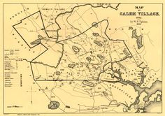 Salem Village (now Danvers) map of at the start of the Salem witch trials, as created in 1866 from historical records by Charles W. Upham, Salem Witchcraft, With an Account of Salem Village and a History of Opinions on Witchcraft and Kindred Spirits Mary Sibley, Collections D'objets, Salem Mass, Village Map, Salem Witch Trials, Spiritus, Cartography, Print Pictures, 17th Century