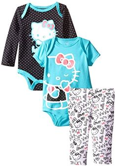 Hello Kitty Baby-Girls Newborn Love 2 Bodysuits with Leggings, Turquoise, 3-6 Months Hello Kitty