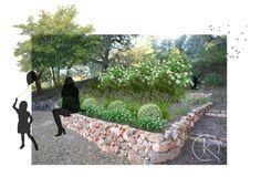French garden backyard