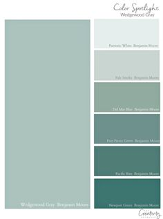 Benjamin Moore Wedgewood Gray: Color Spotlight - - Benjamin Moore Wedgewood Gray is one of the most popular paint colors out there today. We're highlighting why this beautiful color works so well. Blue Green Paints, Green Paint Colors, Paint Color Schemes, Bedroom Paint Colors, Exterior Paint Colors, Exterior House Colors, Paint Colors For Home, Gray Color, Gray Exterior