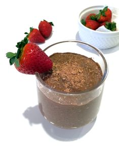 A filling and secretly healthy gluten-free chocolate covered strawberry chia pudding made with high-fiber chia seeds, cocoa powder and strawberries.