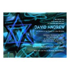 WATERCOLOR STAR Bar Bat Mitzvah Invitation you will get best price offer lowest…