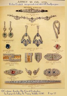 """Even fine jeweler Asprey's in London sold paste jewelry in the 1930s. My Knoll & Pregizer KP Paste watch is very similar to the watch featured in this ad. The dating of 1930s is assured by the """"clip on earrings"""" which were invented and became popular at that time, including the everpresent double-clip brooches. This ad is ©1996 Lyngerda kelley & Nancy Schiffer and featured in their book """"Costume Jewelry The Great Pretenders"""" on page 12. The Robin Deutsch Collection"""