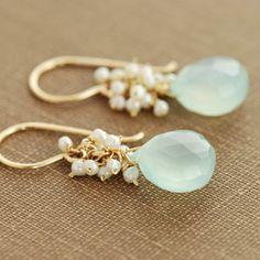 Seafoam Chalcedony Seed Pearl Earrings in 14k Gold Fill, Handmade Gemstone Pearl Earrings