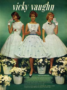 Vicky Vaughn Junior dresses, 1959. #vintage #1950s #fashion #ads
