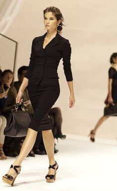 Black button top + skirt + heels