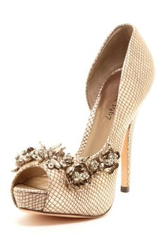 Cute for the bridesmaids?  Just enough, not too much.  Embellished Trim Peep Toe Pump