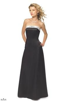 Two-tone matte satin bridesmaids gown with beaded and embroidered trim. The trim is located at the bust and continues down the back of the gown. The trim on the back is split by a corset tie-back.