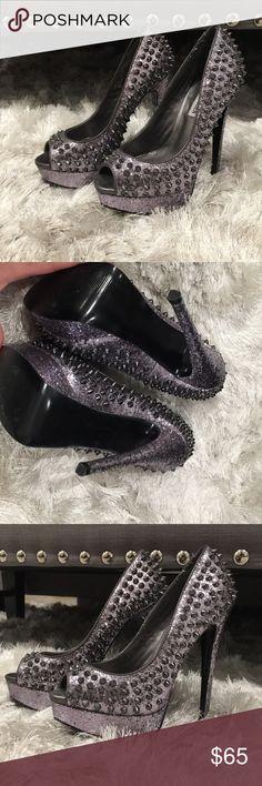 Gray glitter spike heels Worn once Steve Madden Shoes Heels