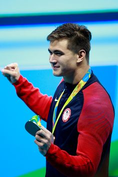 #RIO2016 Bronze medalist Nathan Adrian of the United States poses during the medal ceremony for the Men's 100m Freestyle Final on Day 5 of the Rio 2016...