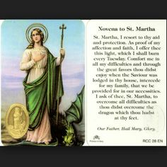 St. Martha patron saint of dietitians, cooks, butchers, housewives, single laywomen  feast day July 29th