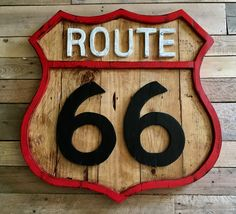 Route 66 wooden sign x Great piece for the Rustic Car lover. Route 66 Sign, Recycled Wood, Wooden Signs, Wood Art, Recycling, Etsy Seller, Clock, Rustic, Black And White