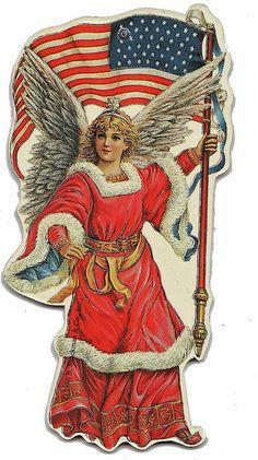 Patriotic Angel Die Cut - Vintage for picnic picnic Vintage Ephemera, Vintage Cards, Vintage Postcards, Vintage Images, American Pride, American Flag, American Spirit, Decoupage, Patriotic Images