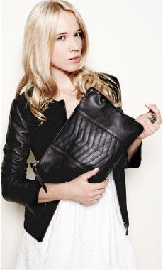 Black A4 size quilted zipped pouch to carry everywhere!