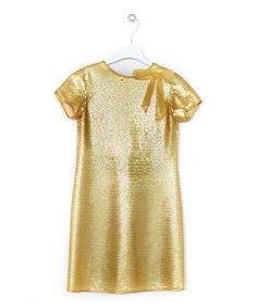 Take a look at this Gold Sequinned Short-Sleeve Net Dress - Girls by Lesy  on #zulily today!