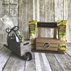 Stampin' Up! Crate wheel barrel and lemonade stand. Wooden Crates Gifts, Wood Crates, Wooden Diy, Crate Crafts, 3d Paper Crafts, Fancy Fold Cards, Dollar Store Crafts, Craft Sale, Scrapbooking