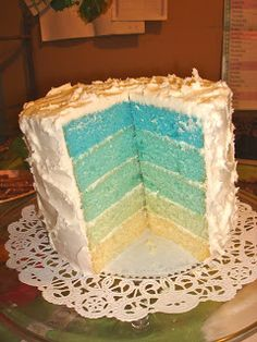Aqua Blue Ombre Cake: HUGE cake, but love the colors! Happy Birthday Cookie, Blue Birthday Cakes, Birthday Cookies, Frozen Birthday, 2nd Birthday, Birthday Parties, Cake Recipes For Kids, Baby Food Recipes, Dessert Drinks