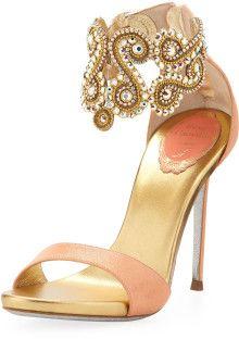 Rene Caovilla Crystal Embellished Ankle Bracelet Sandal Evening shoes www.finditforweddings.com